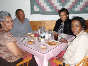 Friendly and plenty, dining with the gang at Cascades Lodge, Killington Vermont
