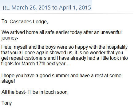 Tony Woodley's Testimonial for Cascades Lodge, 2015